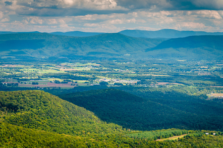 appalachian: View of the Shenandoah Valley and Appalachian Mountains from the Mill Mountain Trail near Big Schloss in George Washington National Forest, Virginia. Stock Photo