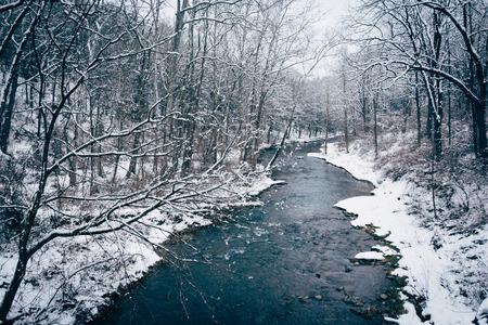 gunpowder: Winter view of Gunpowder Falls in rural Baltimore County, Maryland. Stock Photo
