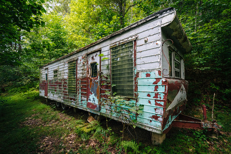 Abandoned trailer in the woods, in the rural Shenandoah Valley, Virginia.