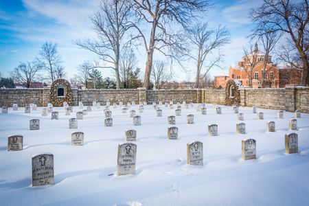 Snow covered cemetary at the National Shrine of Saint Elizabeth Ann Seton in Emmitsburg, Maryland.