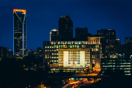 charlotte: View of the skyline of Uptown at night, in Charlotte, North Carolina.