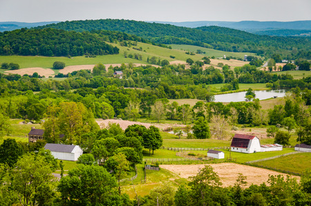 View of farms and hills from Sky Meadows State Park, in the rural Shenandoah Valley of Virginia. Stock Photo