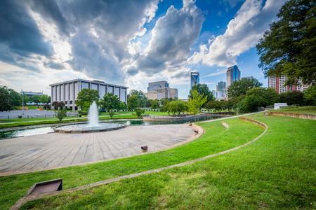 Fountain and lake at Marshall Park, in Uptown Charlotte, North Carolina.