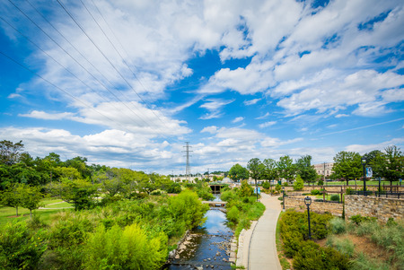 View of the Little Sugar Creek Greenway and Elizabeth Park, in Elizabeth, Charlotte, North Carolina. Stock Photo