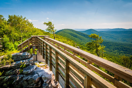 national forest: Wooden bridge and view of the Appalachian Mountains from Big Schloss, in George Washington National Forest, Virginia.
