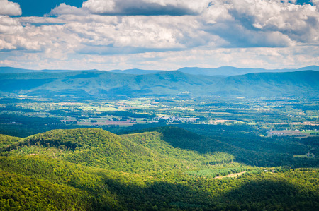 View of the Shenandoah Valley and Appalachian Mountains from the Mill Mountain Trail near Big Schloss in George Washington National Forest, Virginia. Stock Photo
