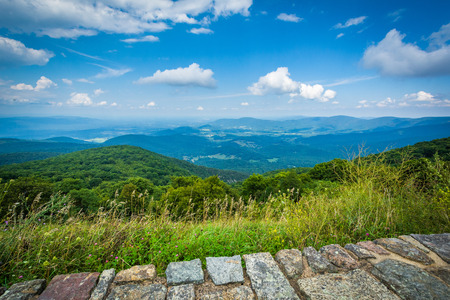 blue ridge: View of the Shenandoah Valley and Blue Ridge Mountains from Skyline Drive, in Shenandoah National Park, Virginia.