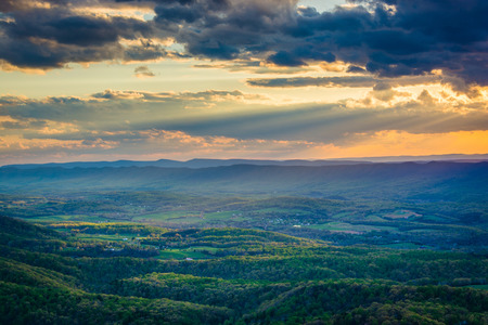 Sunset over the Shenandoah Valley, from Skyline Drive, in Shenandoah National Park, Virginia.