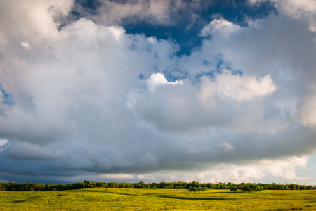 rural skyline: Beautiful clouds over Big Meadows, in Shenandoah National Park, Virginia.