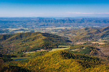 View of fall color in the Shenandoah Valley, from Skyline Drive in Shenandoah National Park, Virginia.