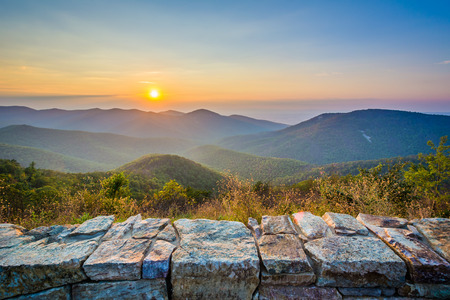 blue ridge: Sunset over the Blue Ridge Mountains, from Skyline Drive, in Shenandoah National Park, Virginia. Stock Photo