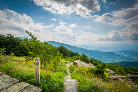appalachian: The Appalachian Trail and view of the Blue Ridge Mountains in Shenandoah National Park, Virginia.