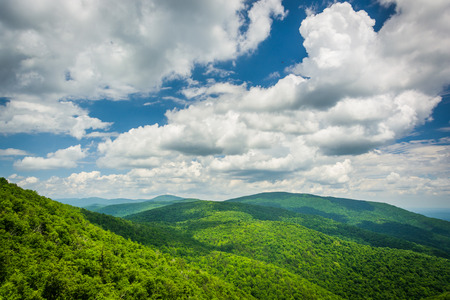 View of the Blue Ridge Mountains and Shenandoah Valley, from Skyline Drive in Shenandoah National Park, Virginia.