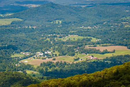 rural skyline: View of farms and houses in the Shenandoah Valley, from Skyline Drive in Shenandoah National Park, Virginia. Stock Photo