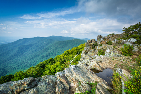 View of the Shenandoah Valley and Blue Ridge from Hawksbill Summit, in Shenandoah National Park, Virginia.