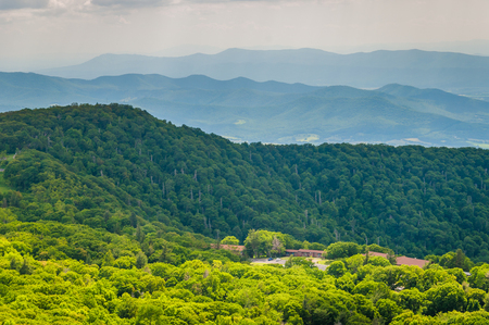 View of Skyland Resort and layers of the Blue Ridge Mountains from Skyline Drive, in Shenandoah National Park, Virginia. Stock Photo