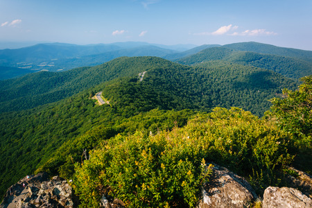 View of the Blue Ridge Mountains and Skyline Drive from Little Stony Man Cliffs, in Shenandoah National Park, Virginia.