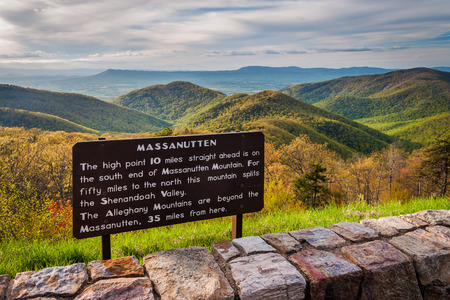 blue ridge: Informational sign and view of the Blue Ridge Mountains from Skyline Drive, in Shenandoah National Park, Virginia.