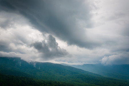 rural skyline: Dark clouds over the Blue Ridge Mountains in Shenandoah National Park, Virginia.