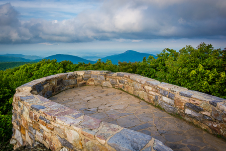 blue ridge: View of the Blue Ridge Mountains from the stone observation deck on Hawksbill Summit, in Shenandoah National Park, Virginia.