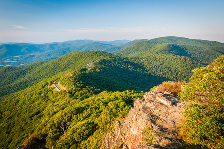 Evening view of the Blue Ridge Mountains from Little Stony Man Cliffs in Shenandoah National Park, Virginia.