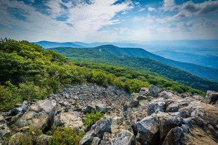 blue ridge: View of the Shenandoah Valley and Blue Ridge from Stony Man Mountain, in Shenandoah National Park, Virginia. Stock Photo