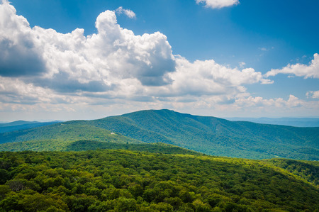 View of the Blue Ridge Mountains and Shenandoah Valley in Shenandoah National Park, Virginia.