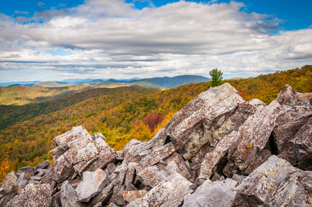 blackrock: Fall view of the Blue Ridge Mountains from the boulder-covered summit of Blackrock, in Shenandoah National Park, Virginia.