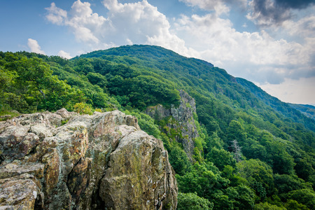 appalachian: Little Stony Man Cliffs, along the Appalachian Trail, in Shenandoah National Park, Virginia. Stock Photo