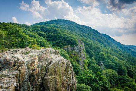 appalachian: Little Stony Man Cliffs, along the Appalachian Trail, in Shenandoah National Park, Virginia. Stock Photo