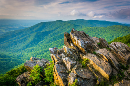 View of the Blue Ridge Mountains from Hawksbill Summit, in Shenandoah National Park, Virginia.