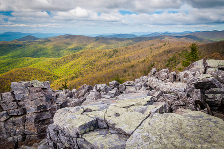blackrock: View of spring color in the Blue Ridge Mountains from the rocky summit of Blackrock, in Shenandoah National Park, Virginia. Stock Photo