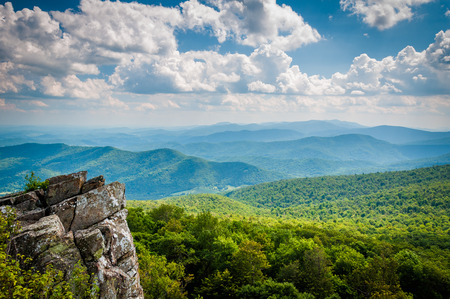 View of the Blue Ridge Mountains from North Marshall Mountain in Shenandoah National Park, Virginia.