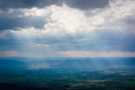 Sun rays over the Shenandoah Valley seen from Skyline Drive, in Shenandoah National Park, Virginia.