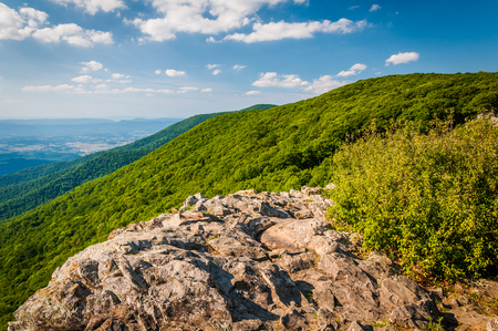 appalachian: View of the Shenandoah Valley and Appalachian Mountains from Crescent Rock, in Shenandoah National Park, Virginia.