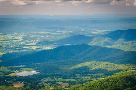 View of Lake Arrowhead and the Shenandoah Valley from Skyline Drive, in Shenandoah National Park, Virginia.