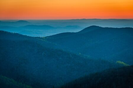 appalachian: Sunrise over the Appalachian Mountains, seen from Skyline Drive in Shenandoah National Park, Virginia.
