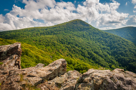 rural skyline: View of Hawksbill Mountain from Crescent Rock, in Shenandoah National Park, Virginia.