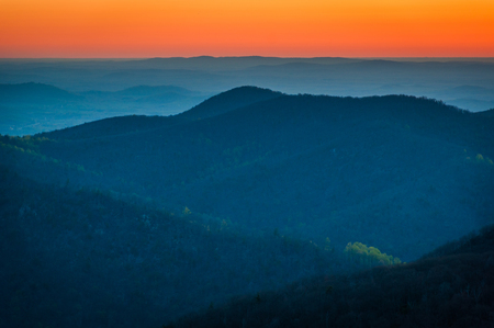 rural skyline: Sunrise over the Appalachian Mountains, seen from Skyline Drive in Shenandoah National Park, Virginia.