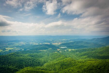 View of the Shenandoah Valley from Little Stony Man Cliffs, in Shenandoah National Park, Virginia.