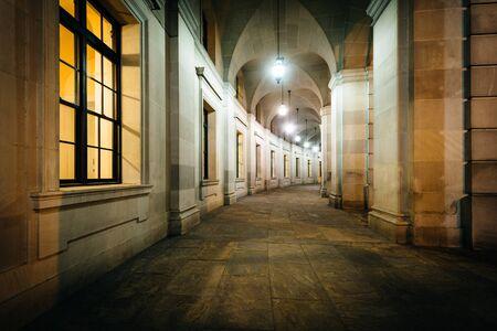 ronald reagan: Exterior corridor of the Ronald Reagan Building and International Trade Center at night, in Washington, DC.