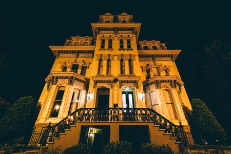 Historic house at night, at Logan Circle, in Washington, DC.