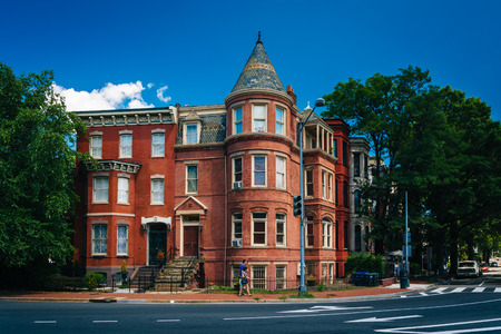 Historic houses at Logan Circle, in Washington, DC. Stock Photo