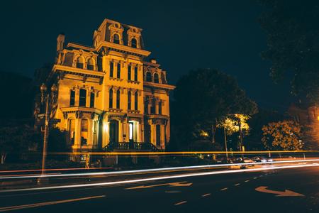 Historic house along Logan Circle at night, in Washington, DC.