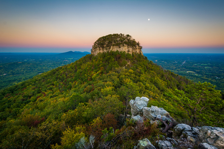 The Big Pinnacle of Pilot Mountain, seen from Little Pinnacle Overlook at Pilot Mountain State Park, North Carolina.