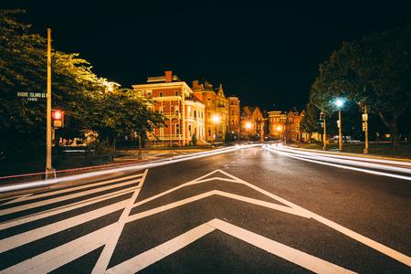 Long exposure of traffic and historic houses at Logan Circle at night, in Washington, DC. Stock Photo