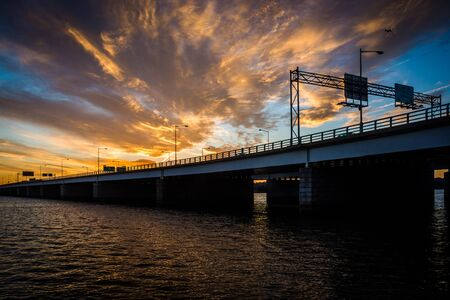 Sunset over the Potomac River and George Mason Memorial Bridge in Washington, DC. Stock Photo