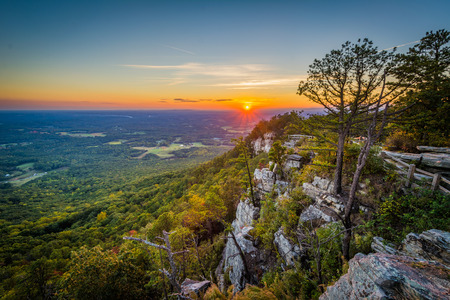 Sunset view from Little Pinnacle Overlook at Pilot Mountain State Park, North Carolina.