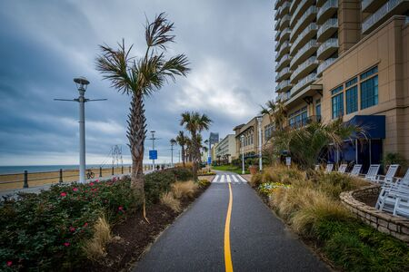 Bike path along the boardwalk in Virginia Beach, Virginia. Editorial