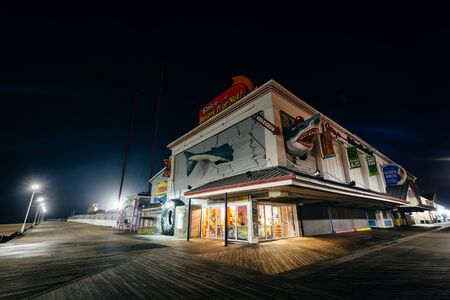 The boardwalk at night, in Ocean City, Maryland.